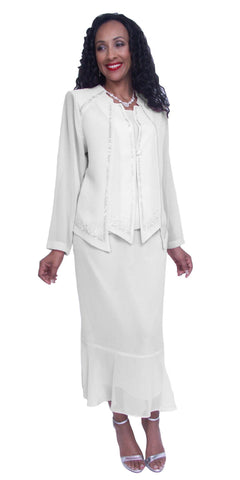 White Long Sleeve Embellished 3-Piece Plus Size Modest Dress
