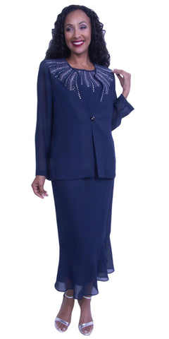 Embellished Neckline Skirt Suit Modest Dress Tea-Length Navy Blue