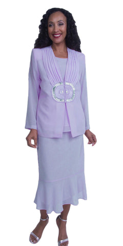 Lilac Plus Size Tea-Length Formal Dress with Embellished Jacket
