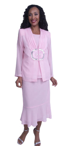 Pink Plus Size Tea-Length Formal Dress with Embellished Jacket