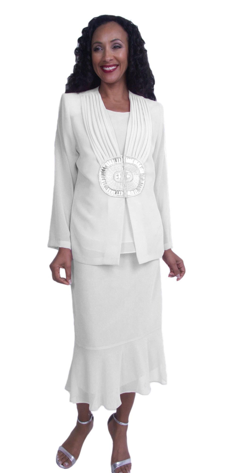 White Plus Size Tea-Length Formal Dress with Embellished Jacket
