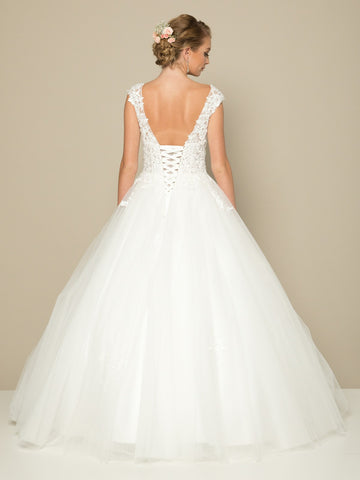 Open Lace-Up Back Appliqued Wedding Ball Gown White