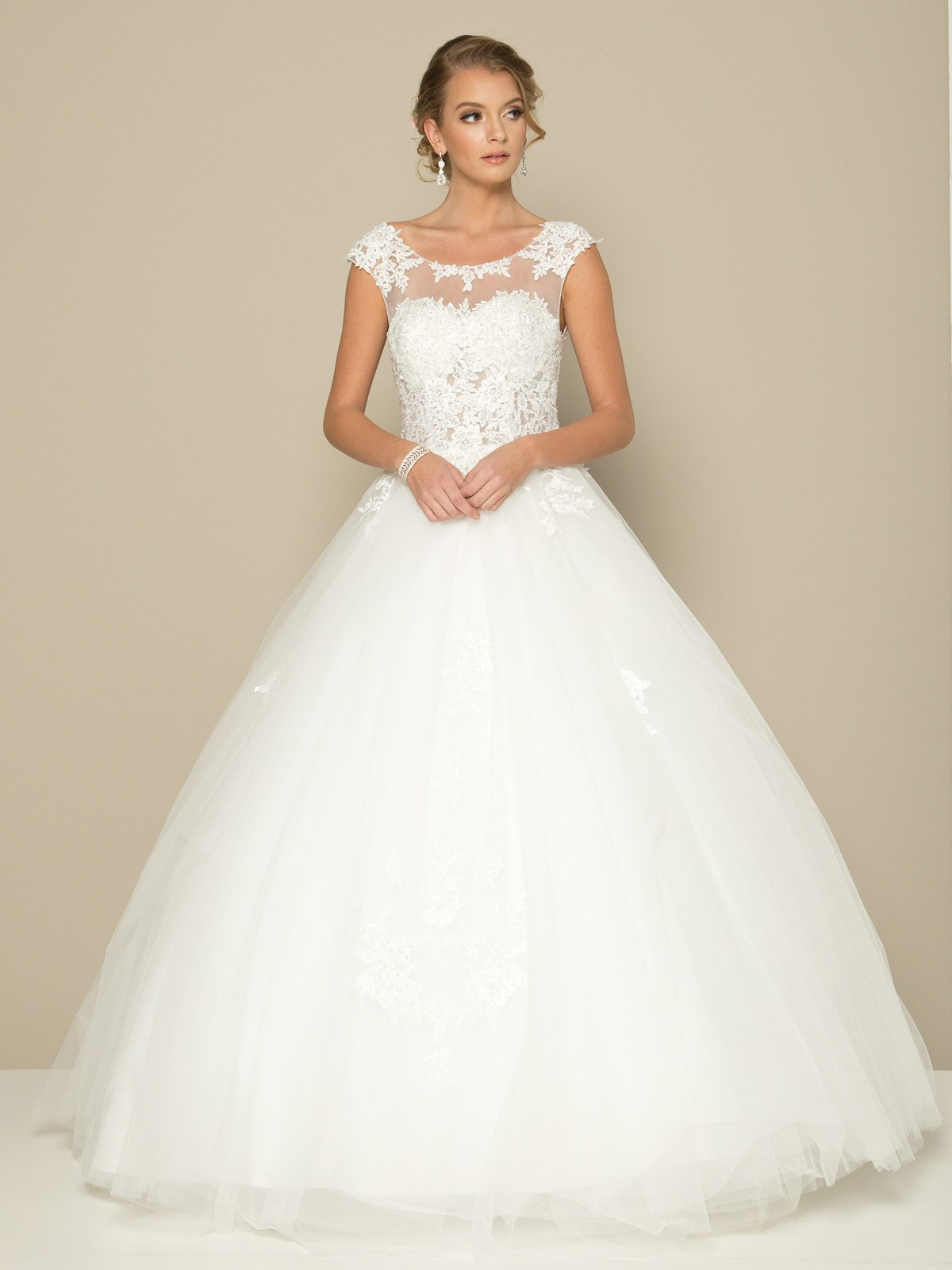 Juliet 386 Open Lace Up Back Appliqued Wedding Ball Gown White