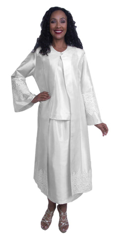 White 3-Piece Plus Size Mother of Bride/Groom Dress with Duster