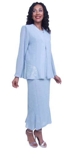 Hosanna 3865 - Modest Plus Size Church Dress 3 Piece Blue