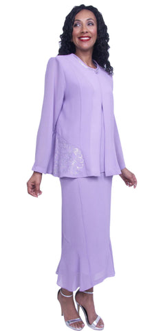Hosanna 3865 - Modest Plus Size Church Dress 3 Piece Lilac
