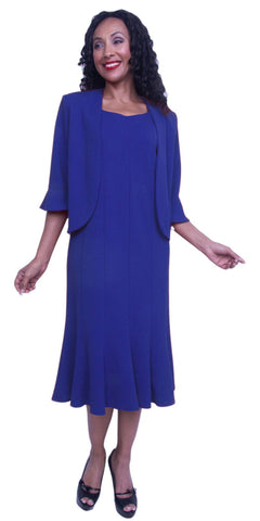 Hosanna 3867 - 2 Piece Plus Size Tea Length Dress With Jacket Royal Blue