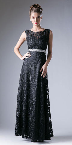 Black Corded Lace A-Line Evening Gown Embellished Waist