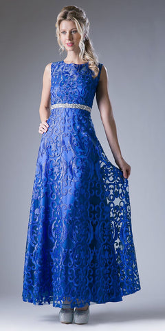 Royal Blue Corded Lace A-Line Evening Gown Embellished Waist