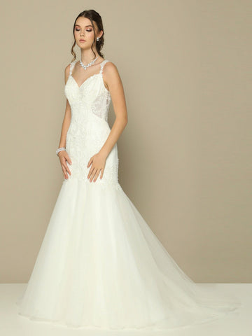 Ivory Illusion Back Mermaid Long Wedding Dress V-Neck