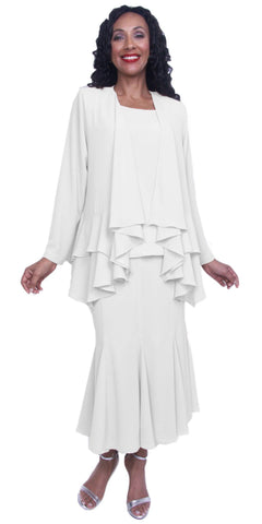 Hosanna 3894 - Plus Size Fit and Flair Skirt Long Sleeve Jacket White
