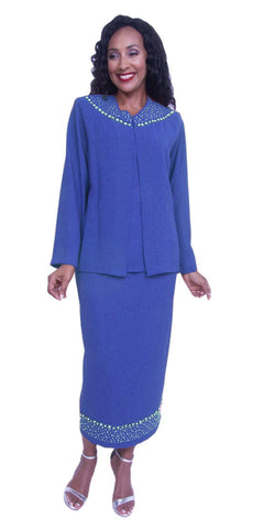 Hosanna 3895 - Plus Size 3 Piece Wedding Guest Dress Royal Blue