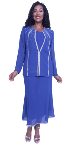 Hosanna 3898 - Plus Size 3 Piece Wedding Guest Dress Royal Blue