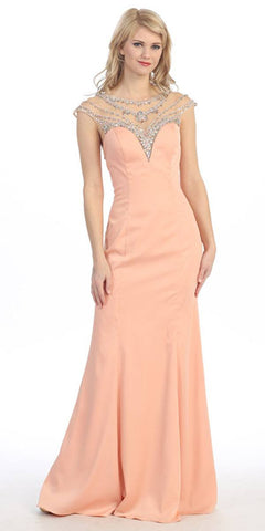 Peach Illusion Beaded Sweetheart Neckline Mermaid Prom Gown