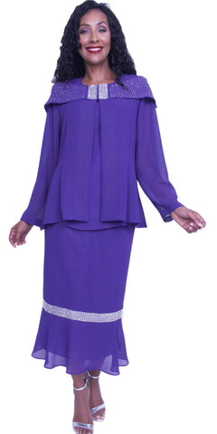Hosanna 3901 - Purple Tea Length 3 Piece Dress Set Plus Size