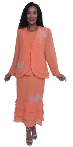 Hosanna 3903 - Orange Tea Length Chiffon 3 Piece Dress Set