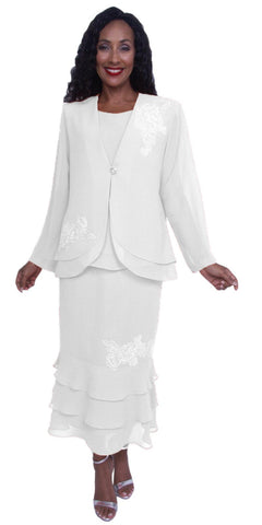 Hosanna 3903 - White Tea Length Chiffon 3 Piece Dress Set