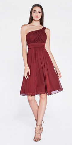 Burgundy One Shoulder Chiffon Knee Length Bridesmaid Dress