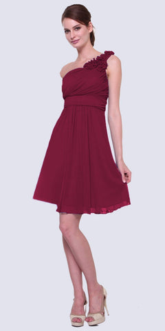 Cinderella Divine 3909 Burgundy One Shoulder Chiffon Knee Length Bridesmaid Dress