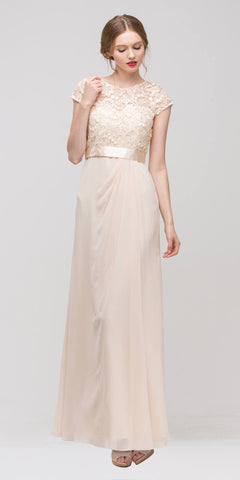 Plus Size Lace Top Evening Gown Cream Short Sleeves Chiffon Skirt