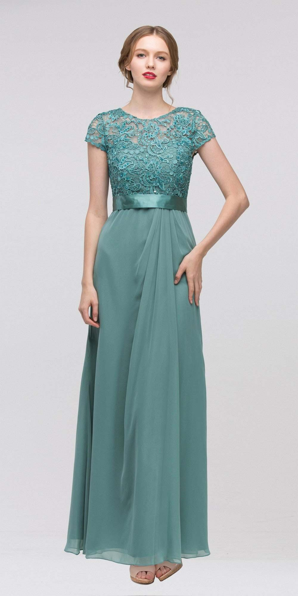 Plus Size Lace Top Evening Gown Jade Short Sleeves Chiffon Skirt ...