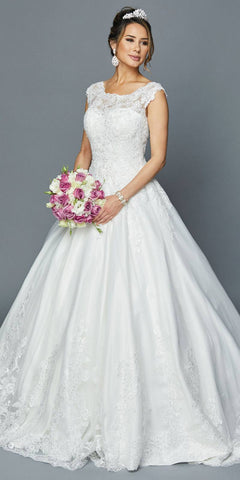 Appliqued Chapel Train Wedding Ball Gown White