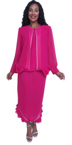 Hosanna 3913 - Fuchsia Ankle Length 3 Piece Dress Set Plus Size