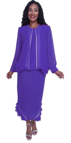 Hosanna 3913 - Purple Ankle Length 3 Piece Dress Set Plus Size