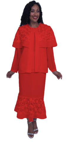 Hosanna 3914 - Red Ankle Length 3 Piece Dress Set Plus Size