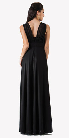 Chiffon Semi Formal Black Dress Long Empire Rhinestone Waist Back View
