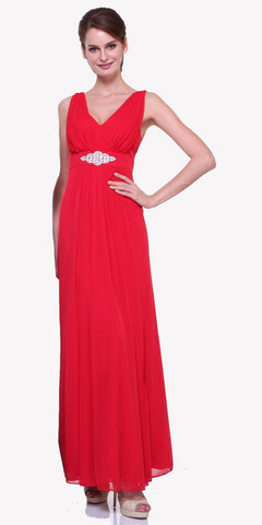 Chiffon Semi Formal Red Dress Long Empire Rhinestone Waist