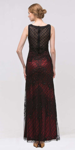 Black/Red Satin and Corded Lace Long Column Dress Formal