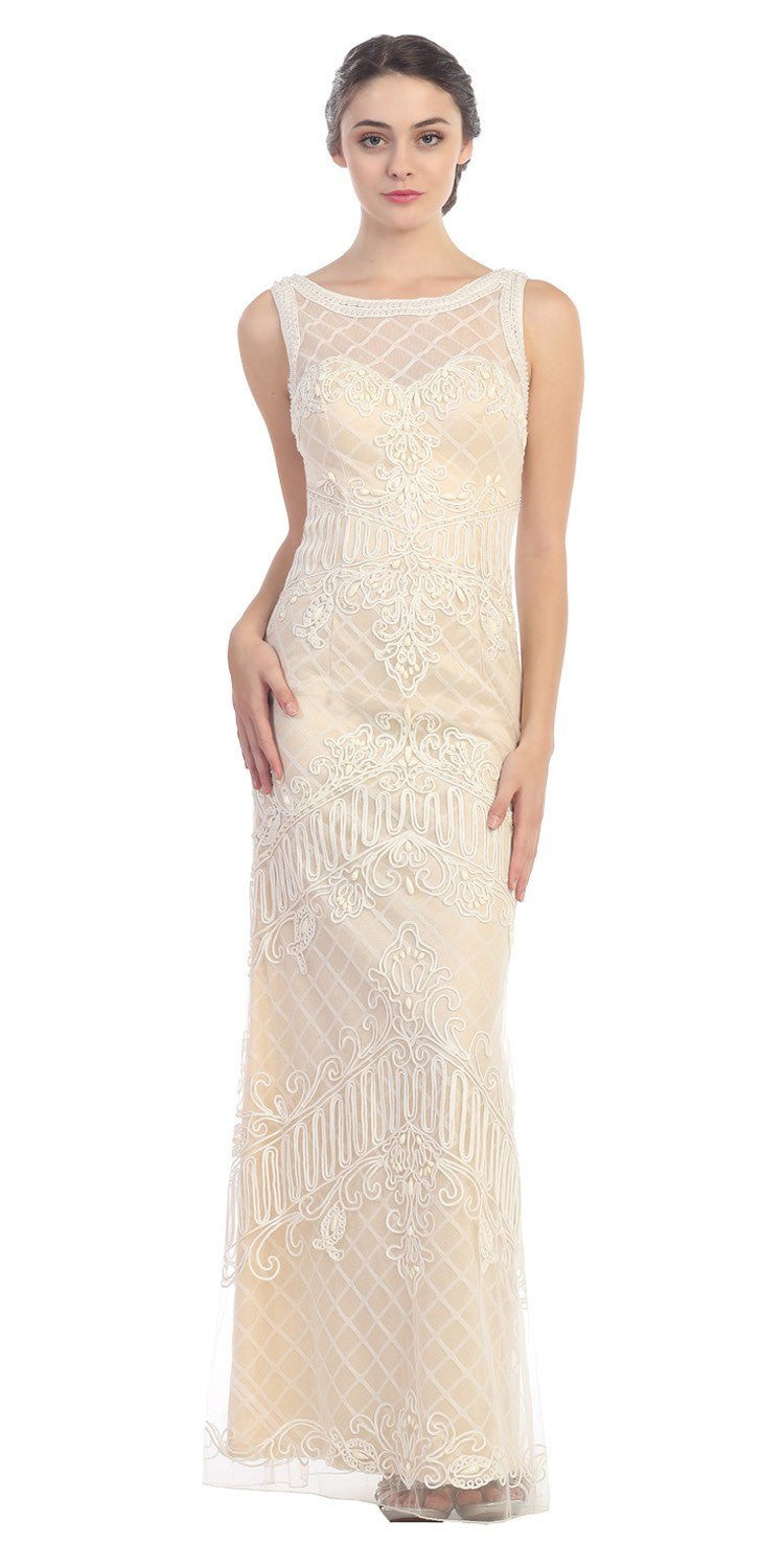 Ivory Champagne Satin And Corded Lace Long Column Dress Formal Discountdressshop,Beach Ceremony Short Beach Wedding Dresses