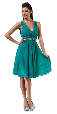Cinderella Divine 3915 Chiffon Bridesmaid Jade Dress Knee Length Empire Waist