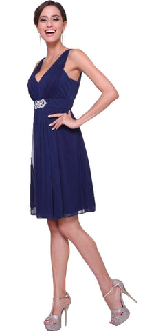 Chiffon Bridesmaid Navy Blue Dress Knee Length Empire Waist