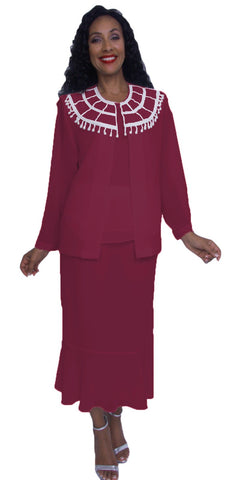 Hosanna 3917 - Plus Size Burgundy Tea Length 3 Piece Dress Set