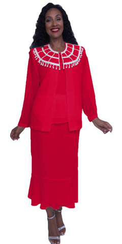 Hosanna 3917 - Plus Size Red Tea Length 3 Piece Dress Set