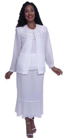 Hosanna 3917 - Plus Size White Tea Length 3 Piece Dress Set