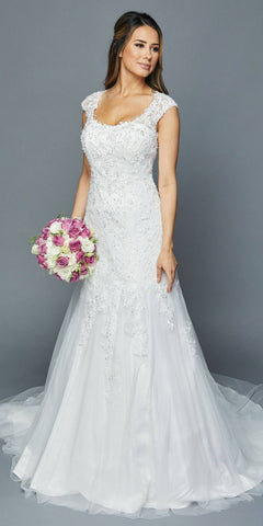 White Scoop Neck Appliqued Wedding Gown Cut-Out Back