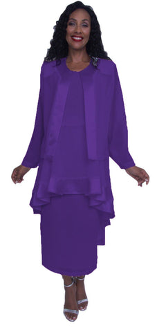 Hosanna 3921 - Plus Size Purple Tea Length 3 Piece Dress Set