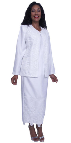 Hosanna 3925 - Plus Size White Tea Length 3 Piece Dress Set