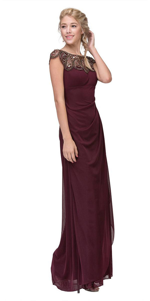 Beaded Long Formal Dress Ruched Back Burgundy