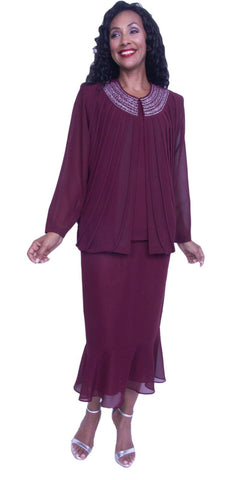 Hosanna 3927 - Plus Size Burgundy Ankle Length 3 Piece Dress Set