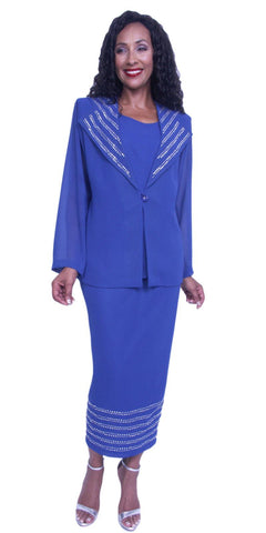 Hosanna 3928 - Royal Blue Plus Size Tea Length 3 Piece Dress Set