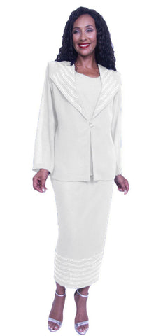 Hosanna 3928 - White Plus Size Tea Length 3 Piece Dress Set