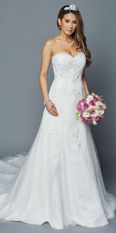 Sweetheart Neckline Strapless Wedding Gown White
