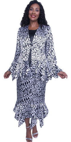 Hosanna 3930 - Plus Size 3 Piece Dress Black/White Print