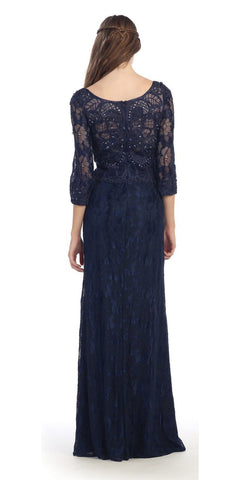 Navy Blue Lace Beaded Long Formal Dress with Three Quarter Sleeves