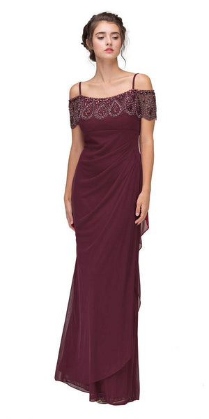 Cold-Shoulder Beaded Long Formal Dress Burgundy