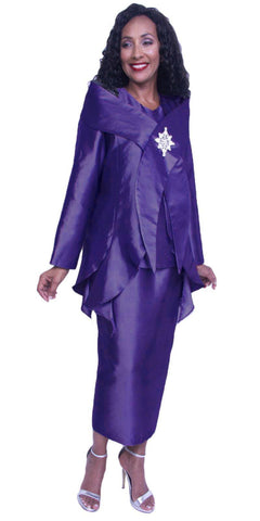 Hosanna 3937 - Purple Plus Size Tea Length 3 Piece Dress Set